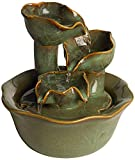 "John Timberland Organic Water Lily Indoor Table-Top Water Fountain 8"" High Cascading for Table Desk Office Home Bedroom"