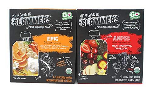 Variety Pack - Go Gourmet Organic Slammers Pureed SuperFood Snack (12.68oz) - Amped (Blend- Apple,Strawberry,Cherry,Chia), Epic (Blend- Apples,Mangoes,Bananas,Carrots,Orange,Greek Yogurt & Vanilla) by General (Image #4)