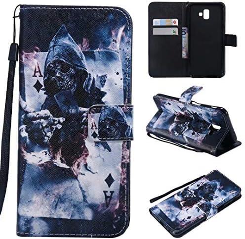 Miagon Flip PU Leder Schutzhülle für Samsung Galaxy J6 2018,Bunt Muster Hülle Brieftasche Case Cover Ständer mit Kartenfächer Trageschlaufe,Zauberer