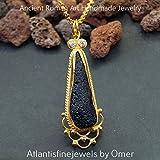 Omer Meteorite Tektite 925 Silver Peacock Lace Necklace 24k Gold Vermeil , Ancient Roman Art Fine Jewelry