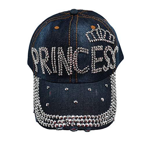 Forest & Twelfth Fashion Bling Baseball Cap Hat - Embellished w/Crystal Rhinestones and Faux Gemstones (Princess Denim)