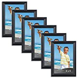 4x6 picture frames - Icona Bay 4 x 6 Inch Picture Frames, (6 Pack) Bulk Set, Black, Wall Mount Hangers and Table Top Easel Included, 5 by 7 Photo Frames Display Horizontally or Vertically, Inspirations Collection