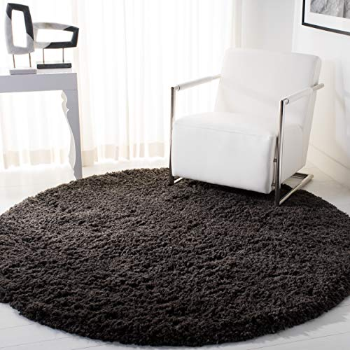 Safavieh Ultra Classic Shag Collection SG140G Handmade Charcoal Round Area Rug (6' - Rug Shag Acrylic