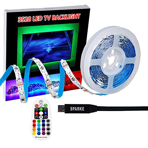 SPARKE LED TV Lights 3meter 9.9 feet USB LED Strip Lights Kit SMD3528 RGB TV Bias Lighting Backlight With RF Remote Controller For 40-70inch HDTV/Monitor Decoration