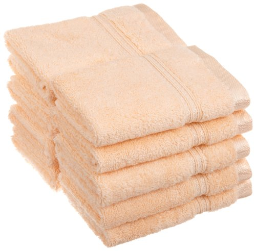 Superior 100% Long Staple Combed Cotton Face Towels, 10 Piece, Peach