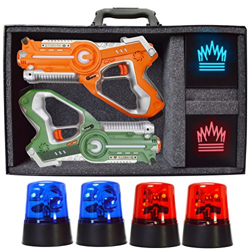 DYNASTY TOYS Camping Games - Laser Tag - Capture the Flag Complete Set. Glow in the Dark Outdoor Toys for Day and (Laser Battle Set)