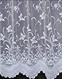 Pretty Butterfly Net Curtain In White. 50 inch drop. Sold by the Metre