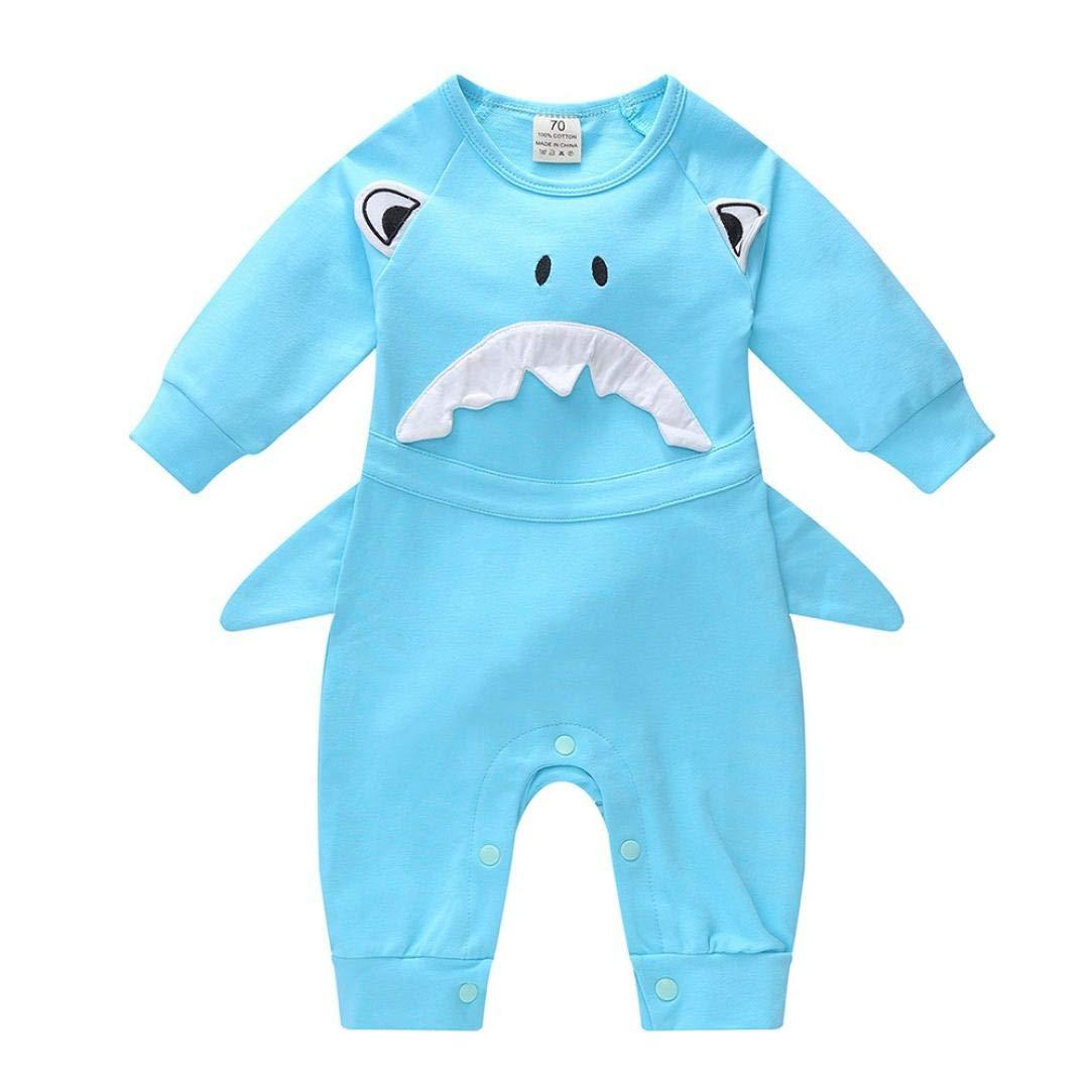 KONFA Toddler Newborn Baby Boys Girls Cartoon Shark Rompers 0-24 Months,Kids Playsuit Jumpsuit Clothing Set