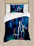 Ambesonne Poker Tournament Duvet Cover Set Twin Size, Gaming Table with Poker Chips Dramatic Display Vegas Leisure Art Print, Decorative 2 Piece Bedding Set with 1 Pillow Sham, Multicolor