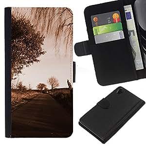 LECELL--Cuero de la tarjeta la carpeta del tirón Smartphone Slots Protección Holder For Sony Xperia Z2 D6502 -- Camino Sad --