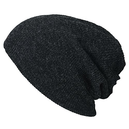 ililily Ribbed Knit Beanie Cap Skull Hat Neck Snood Dark Grey