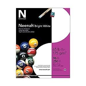 Neenah Paper Premium Cardstock, 96 Brightness, 65 lb, Letter, Bright White, 250 Sheets per Pack (91904)