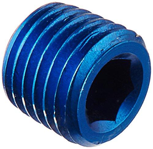 """Aeroquip FCM3684 Blue Anodized Aluminum 1/16"""" NPT Allen Head Pipe Plugs - Pack of 2"""