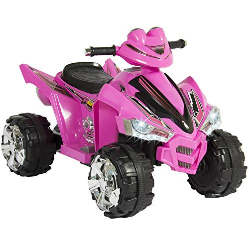 Best Choice Products 12V Kids Battery Powered Electric 4-Wheeler Quad ATV Toddler Ride-On Toy w/ 2 Speeds, LED Lights, Treaded Tires - - Wheeler Battery Volt 12 Four