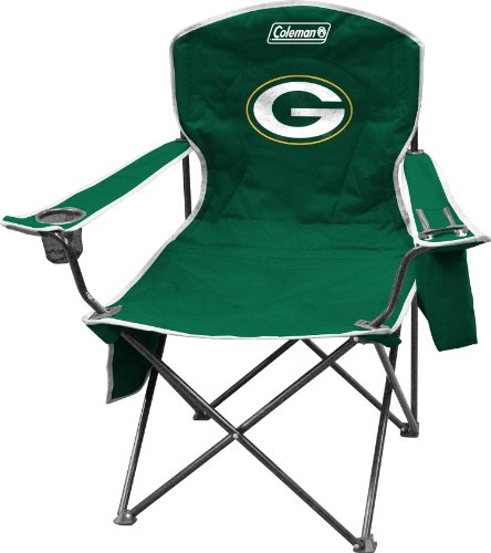 Coleman NFL Cooler Quad Folding Tailgating & Camping Chair with Built in Cooler and Carrying Case, Green Bay Packers -
