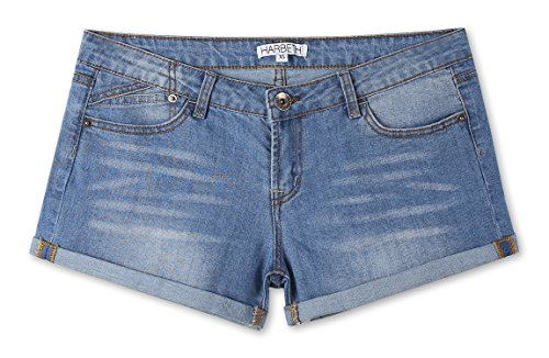 HARBETH Women's Juniors Casual Stretch Fit Low Rise Pockets Trendy Denim Shorts Oasis Blue XL