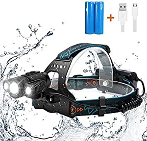 LED Headlamp,SGODDE Super Bright 3 LED 5000 Lumens Zoomable Headlight - 4 Modes XML T6 LED Waterproof Head torch with Rechargeable Batteries for Outdoor Hiking Camping Hunting Fishing Cycling Running