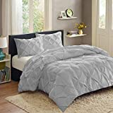Sweet Home Collection  3 Piece Luxury Pinch Pleat Pintuck Fashion Duvet Set,Silver,King
