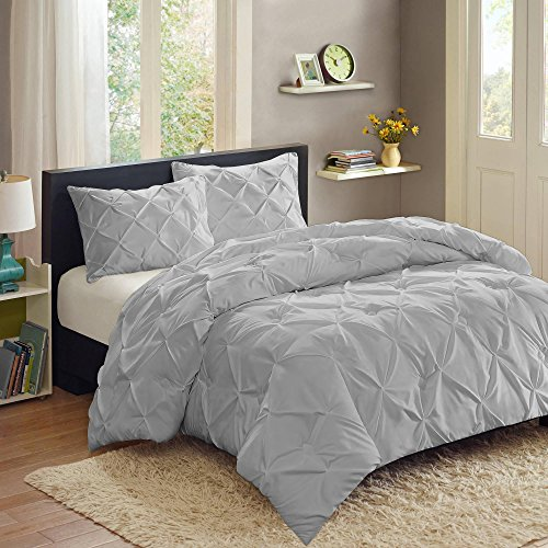 Sweet Home Collection  3 Piece Luxury Pinch Pleat Pintuck Fashion Duvet Set,Silver,King (Pleated Sweet)