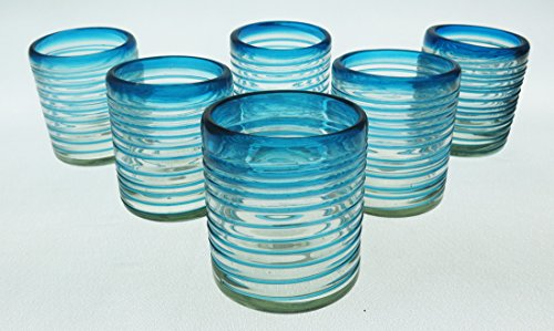 ise / Aqua Marine Spiral Tumblers 10 Oz Set of 6 (Turquoise Recycled Glass)