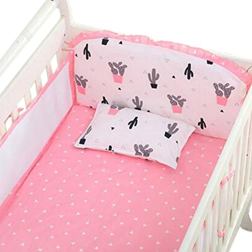 Set of 4 Nursery Baby Bassinet/Crib Bedding Bumper Crashproof Cushion Pink