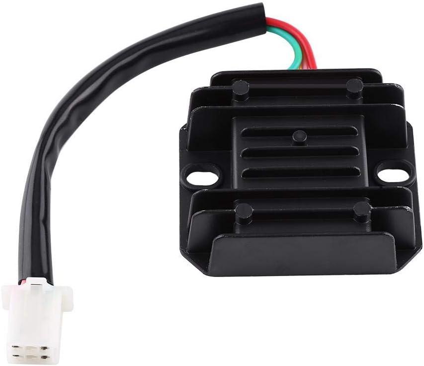 Noir redresseur de r/égulateur de tension 12 V 4 broches pour scooter de moto 150-250CC cyclomoteur ATV noir R/égulateur de redresseur /à 4 fils