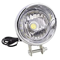GOOFIT Chrome Motorcycle Headlight Head Lamp With Integrated Indicator Backup Light for Scooter ATV Cruiser Chopper
