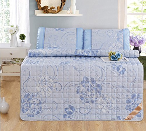 Summer Mat Three-piece Ice Silk Mattress Mattress Single Student Dormitory With Folding ZXCV (Color : Blue, Size : 90195cm) by BEIRU