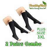 HealthyNees 2 Pairs Black & Beige Combo PLUS SIZE 3XL 15-20 mmHg Zipper Compression Leg Calf Medical Support Circulation Open Toe Socks (Black)