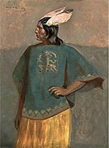 Oil painting 'George de Forest Brush,Standing Inca,about 1887' printing on Perfect effect Canvas , 8x11 inch / 20x28 cm ,the best gift for girl friend and boy friend and Home decoration and Gifts is this Replica Art DecorativePrints on Canvas