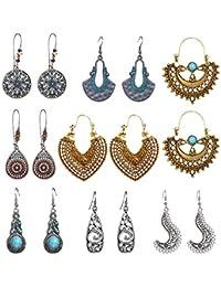 8990d45685f Vintage Statement Drop Dangle Earrings Bohemian National Style Hollow Water  Drop Heart Shaped Alloy Long Boho
