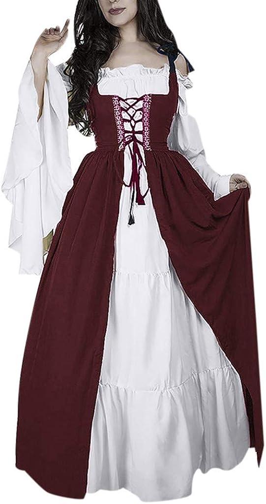 VICGREY Vestito Medievale Donna Vestito Donna Vintage Abito Lungo Cosplay Partito Costume Vestiti Donna Elegante