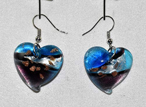 New Beautiful Hand Crafted Murano Look Multi Color Glass Heart Lampwork Dangling Hook Earrings (Blue, Brown & Silver)