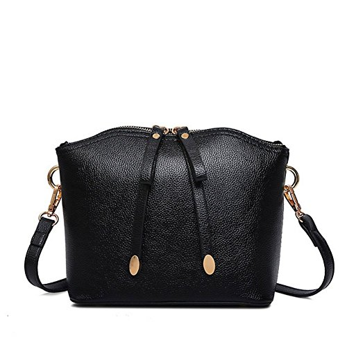 - KaiSasi New Leather Handbags Embossed Shoulder Bag Korean Version Of Messenger Bag Shell Bag(Black)