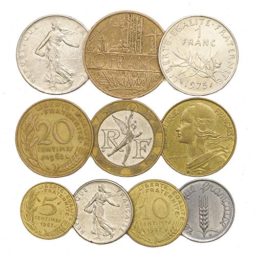 10 Old Coins from France. 10 French Coins: Francs, Centimes 1959-2001 Pre-Euro European Coins. Perfect Choice for Your Coin Bank, Coin Holders and Coin Album