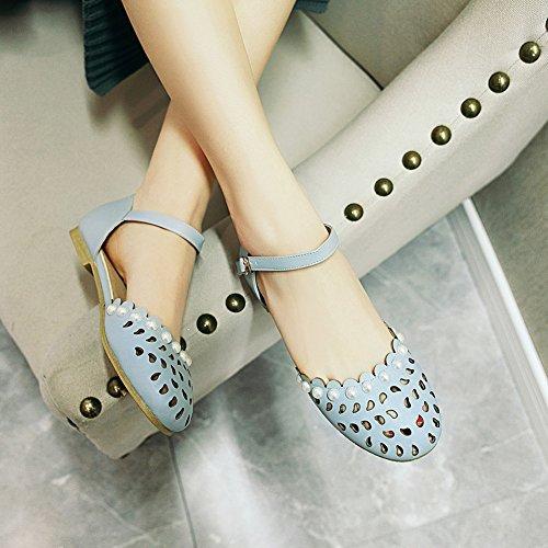 Aisun Damen Sandalette mit Blau Flach Perlen Geschlossen Hollow Schnalle Out Knöchelriemchen ggOrfwqd