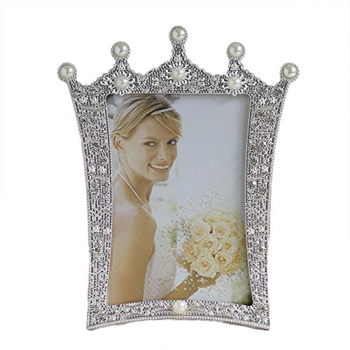 Home-organizer 5x7 Inches Metal Crystal Faux Pearl Photo Frame Picture Frame Special Occasion Anniversary Wedding Gift Photo Frame for Wedding, Birthday Party, Dating, Christmas, Easter, New ()