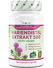 Mariendistel Extrakt 500-180 Kapseln - 500mg - 80% Silymarin - Keine Zusatzstoffe - 100% Milk Thistle Extrakt - Vegan - Vit4ever