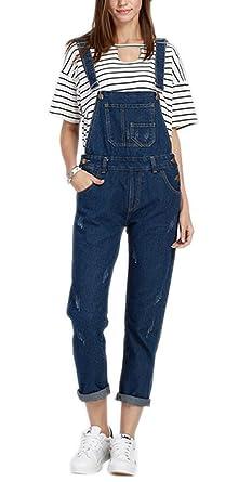 848f7b9228a6 Sitmptol Women s Denim Bib Overall Distressed Cropped Long Jeans Jumpsuit  Romper 2XL Blue