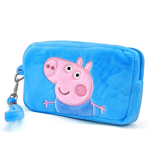 Peppa Pig Bag Coin Purse Mini Bag Velvet Purse Authentic Candy Bag Wallet George Pig Soft Toy Bag (Rectangle Bag Blue)