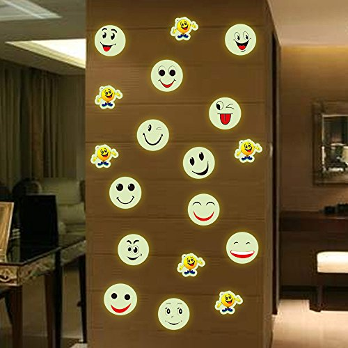 Luminous Stickers Glow in Dark Luminous Fluorescent Wall Stickers Smiley Face Almighty House Home Accessories Decorative Stickers Wall murals ()