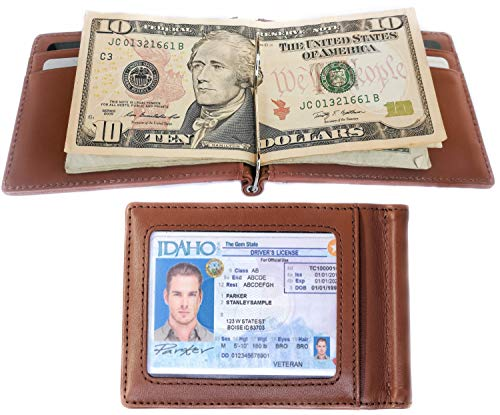 - RFID Blocking Slim Bifold Genuine Leather Minimalist Front Pocket Wallets for Men with Money Clip