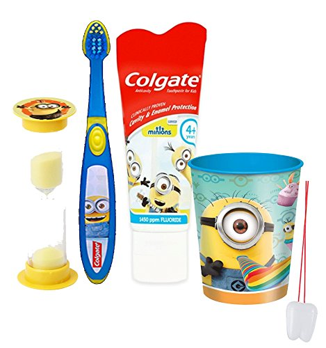 """Despicable Me Minions 4pc Bright Smile Oral Hygiene Set! Manual Toothbrush, Toothpaste, Brushing Timer & Mouthwash Rinse Cup! Plus """"Remember To Brush"""" Visual Aid!"""