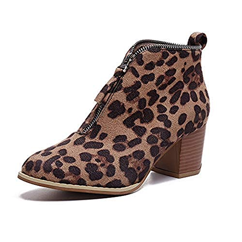 (Xinantime Women Single Shoes Solid Leopard Zipper Splicing Booties Point Head Square Ankle Short Boots Brown)