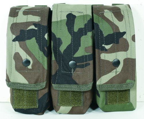 VooDoo Tactical 20-8175005000 M4/Ak47 Mag Pouch, Woodland Camo, Triple