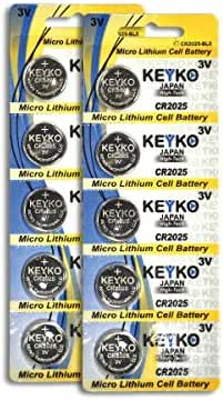 CR2025 3V Micro Lithium Coin Lithium Cell Battery 2025. Genuine KEYKO ® - 10 pcs Pack (2 Blisters)