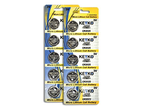 CR2025 3V Micro Lithium Coin Lithium Cell Battery 2025. Genuine KEYKO ® - 10 pcs Pack (2 Blisters) - Cr2025 3v Battery