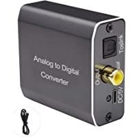 Analog to Digital Audio Converter, Tohilkel 2RCA R/L or 3.5 mm Jack Aux to Toslink SPDIF Optical and Coaxial, Support…