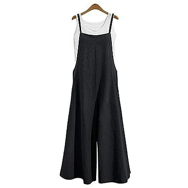 e3d71be27116 Women s Casual Jumpsuits Overalls Baggy Bib Pants Plus Size Wide Leg Rompers  (Black-1