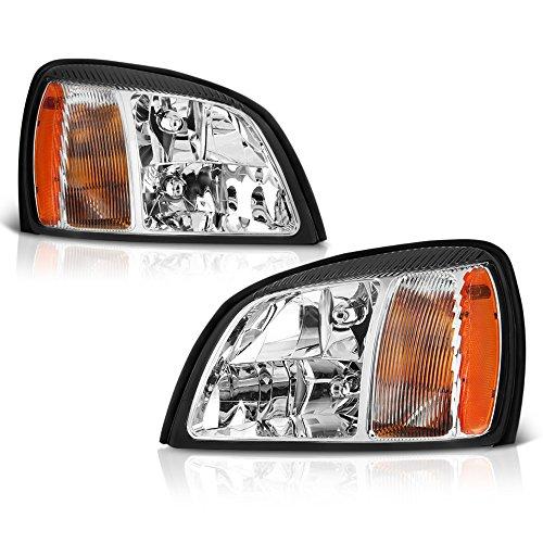 VIPMOTOZ Chrome Housing OE-Style Headlight Headlamp Assembly For 2000-2005 Cadillac Deville, Driver & Passenger Side